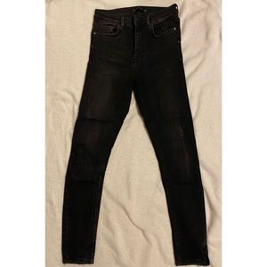 Zara washed black high waisted jeans